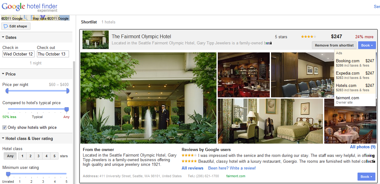 google hotel finder book